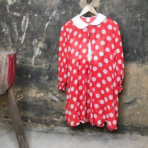 Vintage red polka dot nightgown and housecoat